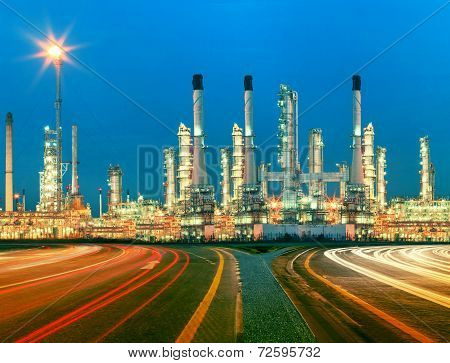Beautiful Lighting Of Oil Refinery Plant In  Heav Petrochemicaly Industry Estate Use For Power ,ener