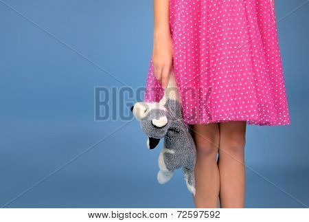 Skirt girl with stuffed animal
