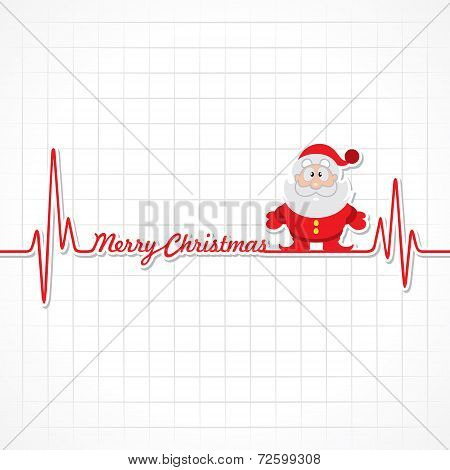 Heartbeat make Merry Christmas text and Santa  stock vector