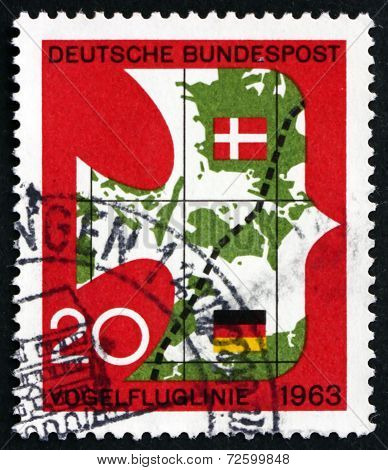 Postage Stamp Germany 1963 New Railroad Link