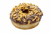 stock photo of chocolate fudge  - Chocolate fudge ring doughnut on isolated background - JPG