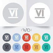 pic of roman numerals  - Roman numeral six sign icon - JPG