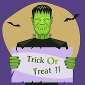 stock photo of frankenstein  - Cartoon vector illustration of the Frankenstein with banner - JPG