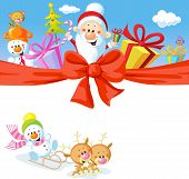 stock photo of christmas claus  - Christmas design with Santa Claus gifts xmas tree snowman and funny reindeer - JPG