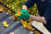 stock photo of gutter  - Cleaning the rain gutter during autumn horizontal
