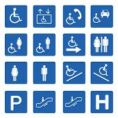 picture of handicap  - Blue square handicap signs with wheelchair vector set Vector illustration - JPG