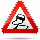 stock photo of slippery-roads  - illustration of triangle traffic sign for slippery road - JPG