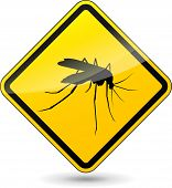 pic of mosquito  - illustration of yellow beware mosquito sign on white background - JPG