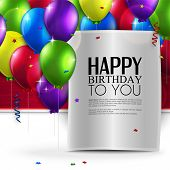 stock photo of helium  - Vector birthday card with balloons - JPG