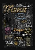 image of drawing beer  - vector chalk menu and food on chalkboard background - JPG