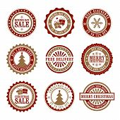 stock photo of boxing day  - A set of 9 Christmas and Boxing Day themed badges - JPG