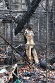 pic of sweatshop  - Burned mannequin after fire in sweatshop garment factory - JPG