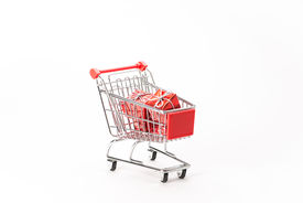 pic of caddy  - Caddy for shopping with gift on white background - JPG