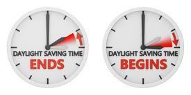 stock photo of time-saving  - time change to daylight saving time on white background - JPG