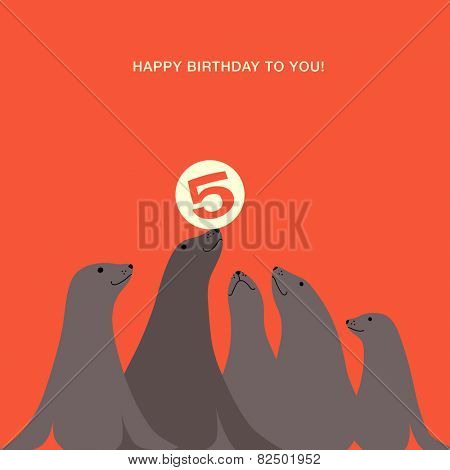 birthday card design with  sea lions seals balancing ball on nose