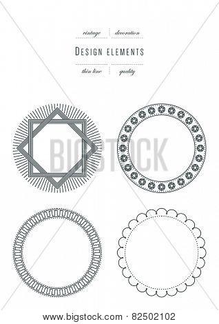 Vintage set - design elements, thin line ( variable line width )