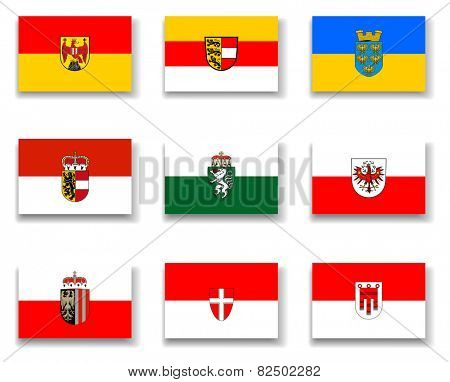 Flags of administrative divisions of Austria. Vector