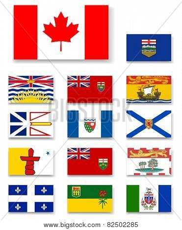 Canadian provinces and territories flags set.Vector