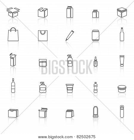 Packaging Line Icons With Reflect On White Background