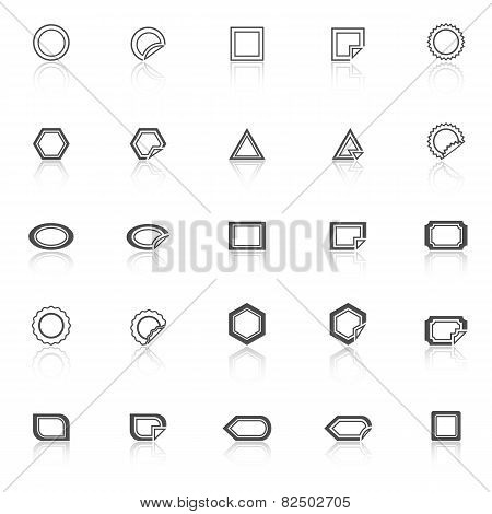 Label Line Icons With Reflect On White Background