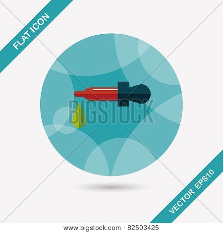 Dropper Flat Icon With Long Shadow