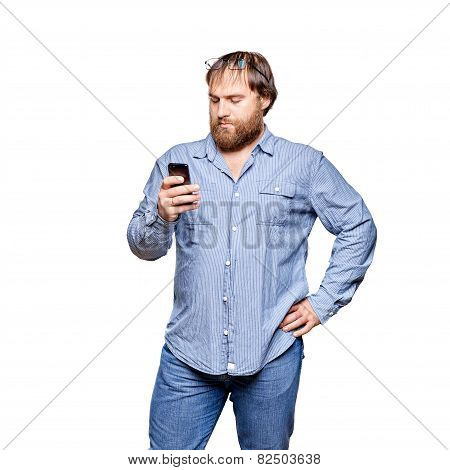fat man with smartphone on a white background