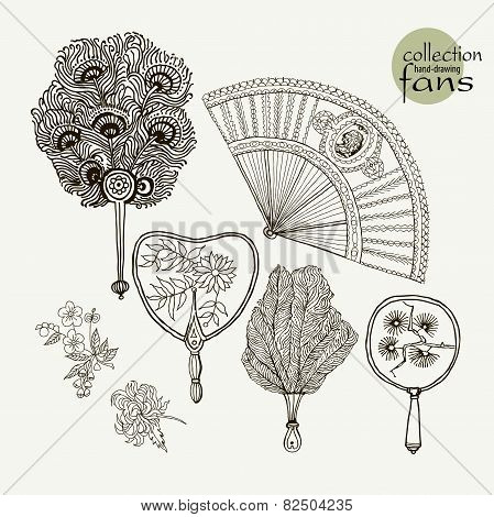 Collection womens old fans. Vector illustration sketch on paper background