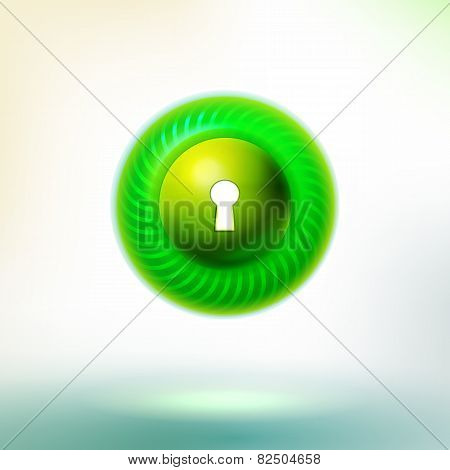 Bright Green Button With Keyhole And Circle Led