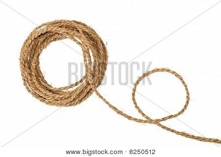 Natural coarse fiber rope coil