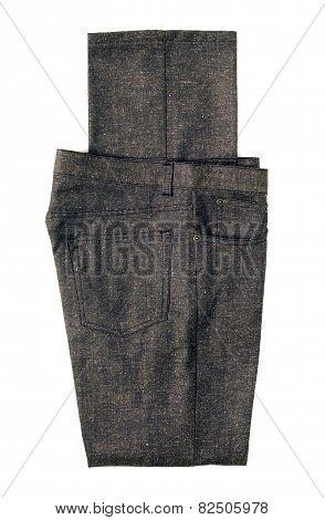 Folded Gray Pants On White Background