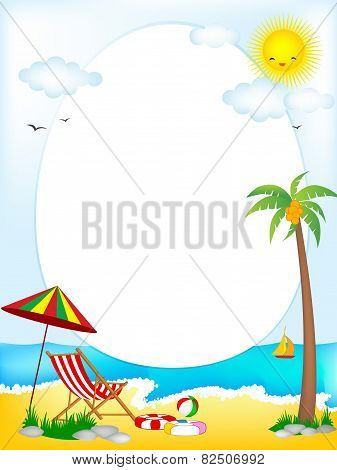 Tropical Beach Oval Frame