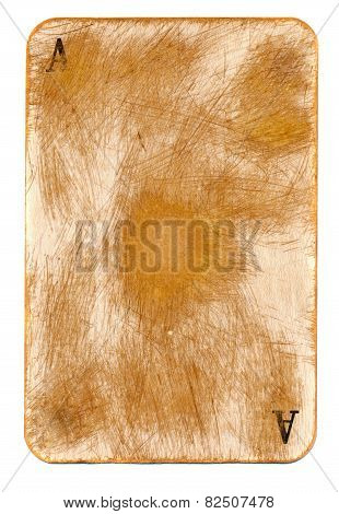 Antigue Rubbed Playing Ace Card Background With Two Letter