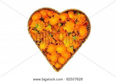Heart Form Wicker Basket With Calendula Marigold Medical Flowers