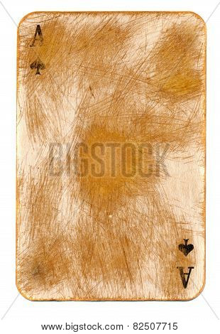 Antigue Rubbed Playing Ace Card Paper Background Isolated