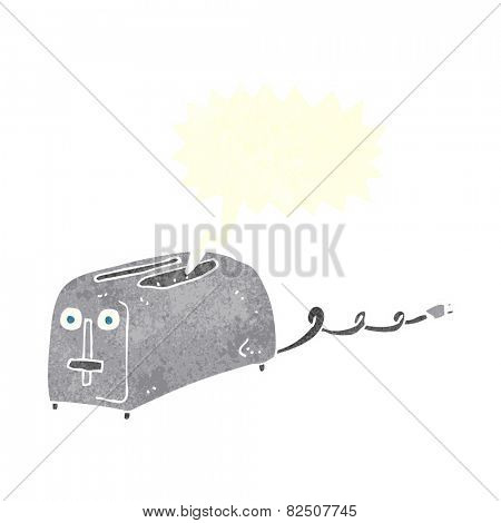 cartoon toaster with speech bubble