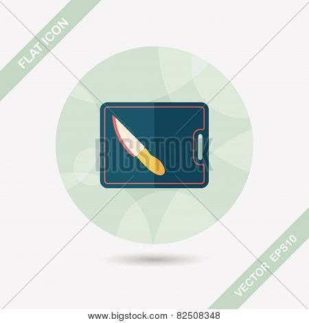 Kitchenware Chopping Board And Knife Flat Icon With Long Shadow,eps10