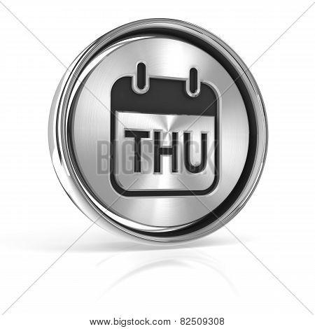 Thursday metallic icon 3d render