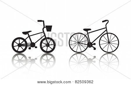 Vector bicycles silhouettes set