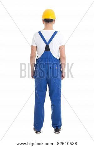 Back View Of Young Man In Blue Builder Uniform Isolated On White