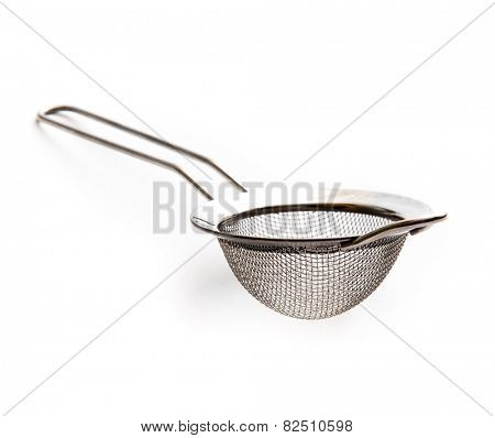 metal kitchen strainer isolated on a white background