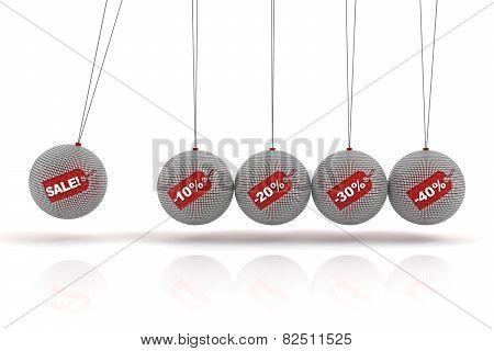 Newton's cradle with sale spheres