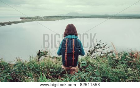 Hiker Woman Standing On Hill And Enjoying Of Lake View