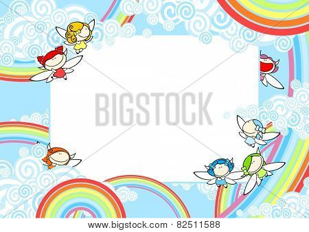 Background with rainbow fairies (raster version)