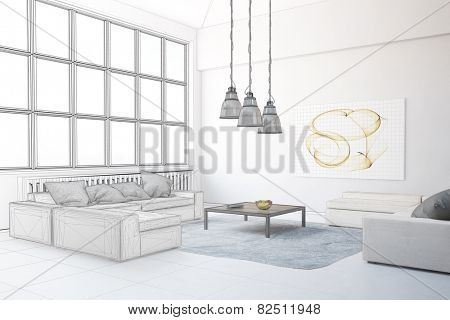 Planning of interior design in loft living room (3D Rendering)