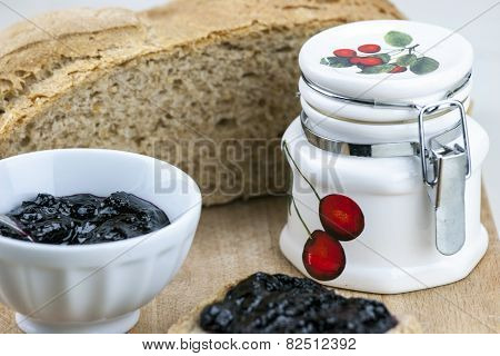 Homemade Blueberry Jam With Integral Bread