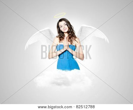 Beautiful Young Woman As Angel