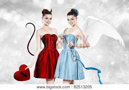 Beautiful Young Woman As Devil And Angel