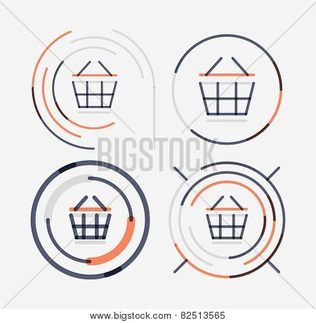 Thin line neat design logo set, clean modern concept, shopping cart icon