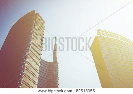 MILAN, ITALY, FEBRUARY 12 2015: new Unicredit Bank skyscraper