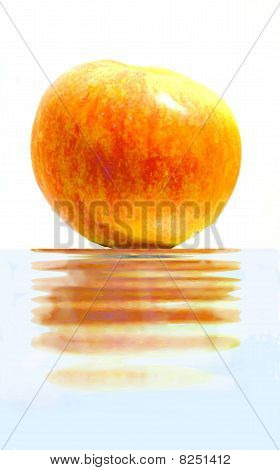 The red apple at the water surface